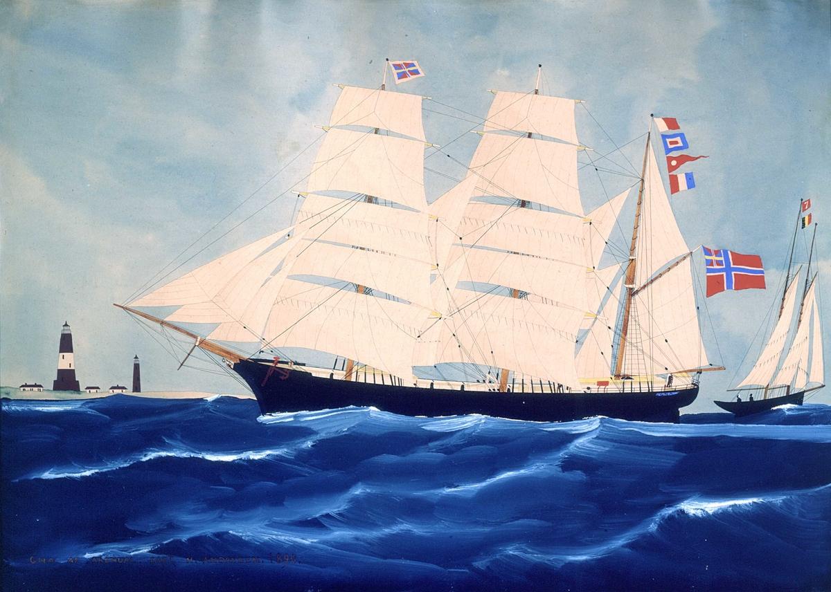 """Portrett av bark GNA av Arendal,  bark GNA av Arendal  1890. Capt. H. Andersen. Fartøyet sett fra babord seilende klysshalte styrbords  halser i tung sjø.   Bark i tung sjø, to fyr, hus, kutter m.belgisk flagg  I bakgrunnen to fyr og tre hus,  til høyre en kutter med belgisk flagg og nummerflagg """"7""""  med gult på rød bunn."""