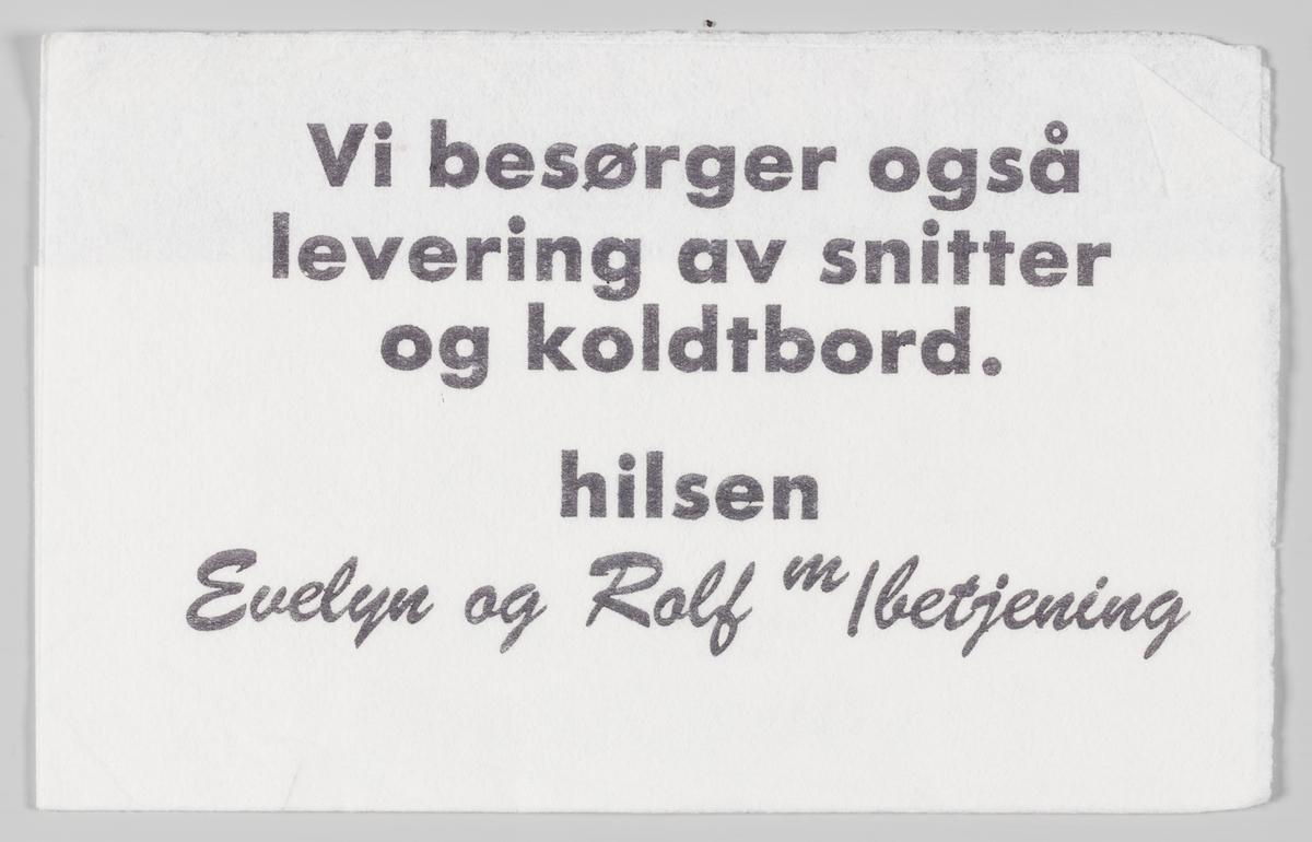 En reklametekst for Kro 68 på Hallingby.   I 2003 ble Kro 68 på Hallingby solgt til Coop Ringerike.  Samme reklametekst på MIA.00007-004-0287.
