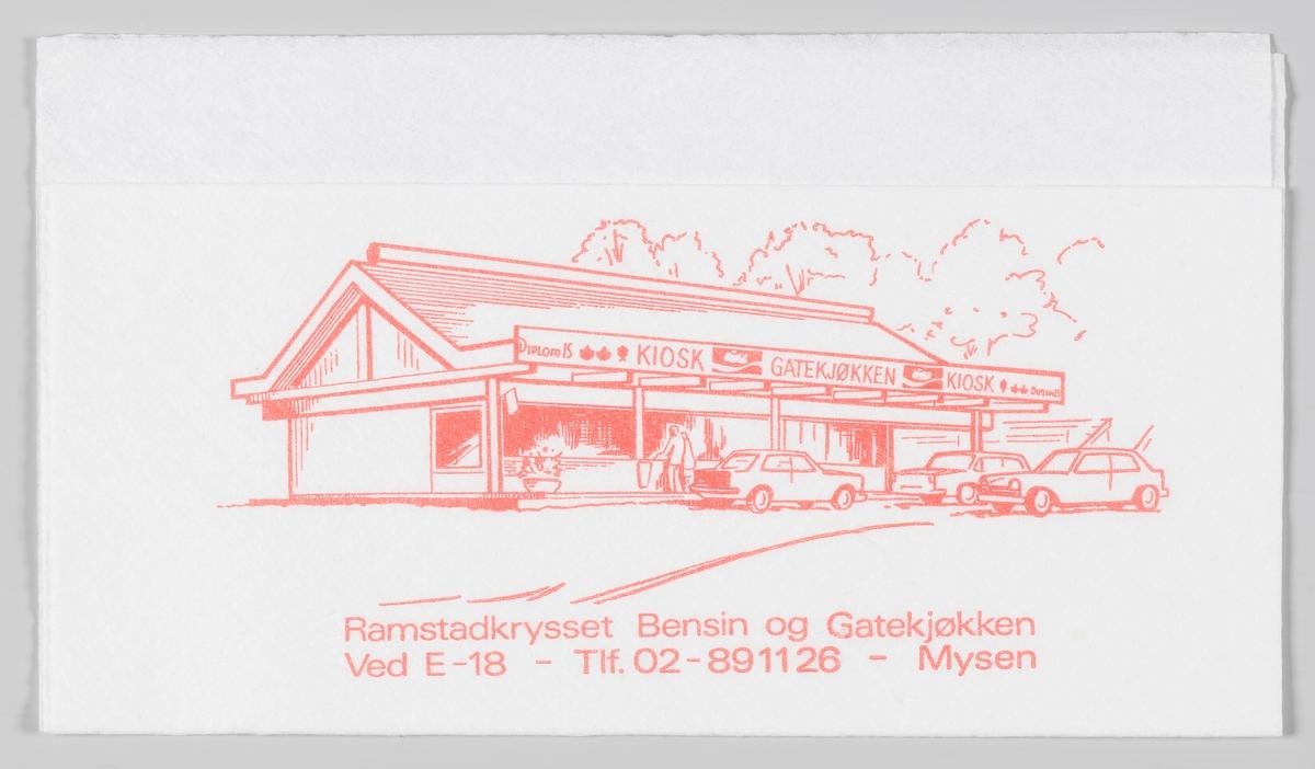 En tegning og reklametekst for Ramstadkrysset Bensin og Gatekjøkken på Mysen.