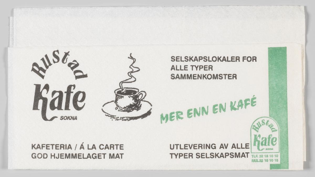 En kaffekopp med varm kaffe og reklametekst for Rustad kafe på Sokna.   Rustad Kafe ble etablert i 1947. Gjennom årene har bedriften utviklet seg i takt med trafikken på Riksveg 7.   Samme reklame på MIA.00007-004-0304 og MIA.00007-004-0305.