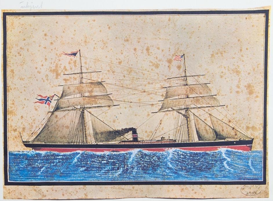 Kopi av akvarell av ukjent dampskip. Skipet sees under fart med seilføring. Norsk handelsflagg med svensk-norsk unionsmerke (sildesalaten) i akter samt amerikansk flagg i formasten.