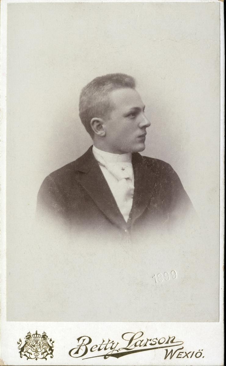 Porträttfoto av en okänd ung man i kostym med stärkkrage och ljus bred slips med kråsnål. Bröstbild, profil. Ateljéfoto.