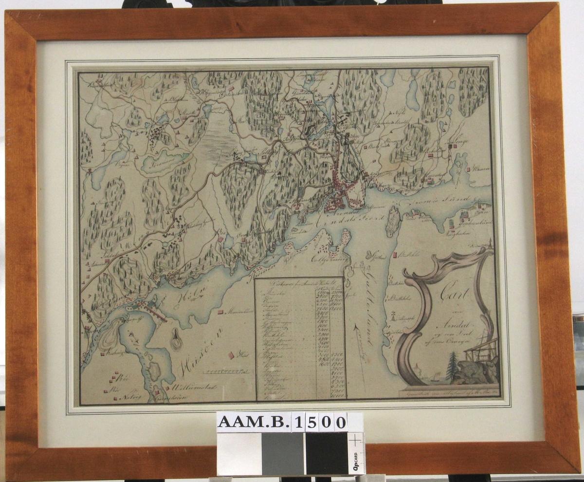 Kart med kartusjer, fjell med gruve, grantre, m.m. Cart over Arendal og en Deel af dens Omegn.   Cart over Arendal og en Deel af dens Omegn.   Tusj og akvarell.  Billedflate 32,5 x 40,9.   Ark 37x46,5   Signert nth. med tusj, håndskrift:   Geometrisk opmaalt og tegnet af M.Moe 1814.   Overskriften står i rokokko kartusj nth.,  helt i hjørnet er et fjell med gruve og vinsj,  ved foten av fjellet tv. em høy gran.  Denne står like i vannkanten, på sjøen en seilsjekte  og i bakgr. et seilskip, tv. fjell med en varde:  symboler for Arendal og omegns næringsliv.  Kartet er tegnet med tusj og fargelagt med brunt  (veier blått (vann og elver), rødt (hus), grønt (trær),  brunt (varde Østensbo og Tellegraph Torjusholmen).  Kartet viser Arendal by litt th. for midten,  avgrenses i vest av Hisøystrømmen/Nidelven,  øtv. av Bråstad, i nord Longumvannet,  i øst ka Krona, og Tromøylandet mot Galtesund til og med Torjusholmen.  Npm. innrammet rektang. felt med   Distancer fra Arendals Kirke til...  (følger 25 navn fra kartet) og to kolonner med tall   Til Vands, Til Lands  Tv. for denne målestokk fra 1 1000 alen.