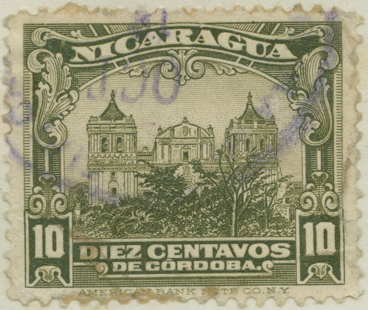 Frimärke ur Gösta Bodmans filatelistiska motivsamling, påbörjad 1950. Frimärke från Nicaragua, 1914. Motiv av katedral i Léon.