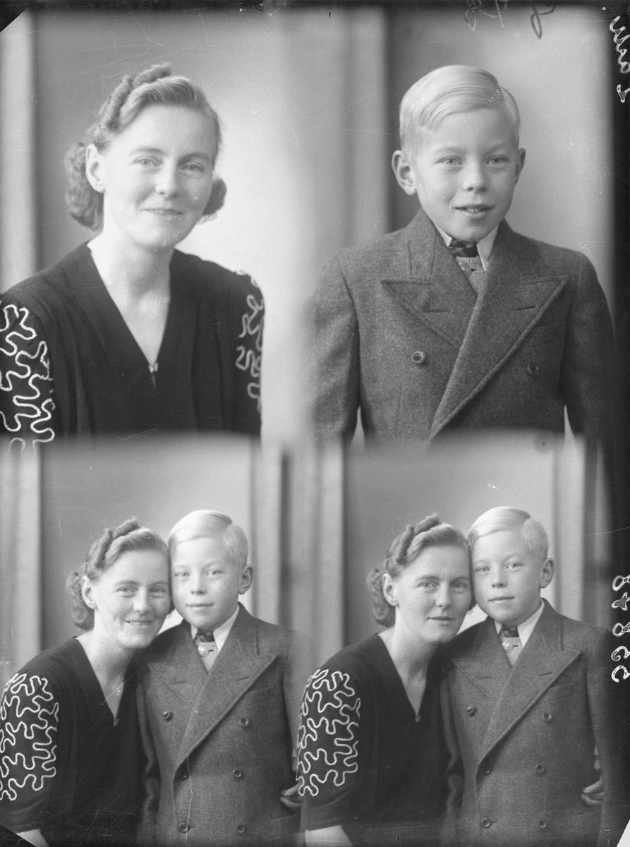 Portrett. Familiegruppe på to. Ung mørkhåret kvinne med mørk kjole med hvit brodering på ermene. Ung blond gutt i halvmørk dress med lys genser, hvit skjorte og slips. To foto sammen og to foto hver for seg. Bestilt av Martha Larsen. Strandgt. 84