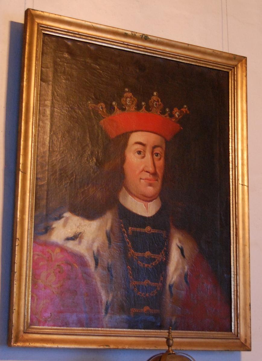 Olje på lerret, forgylt profilert ramme, portrett av kong Hans.