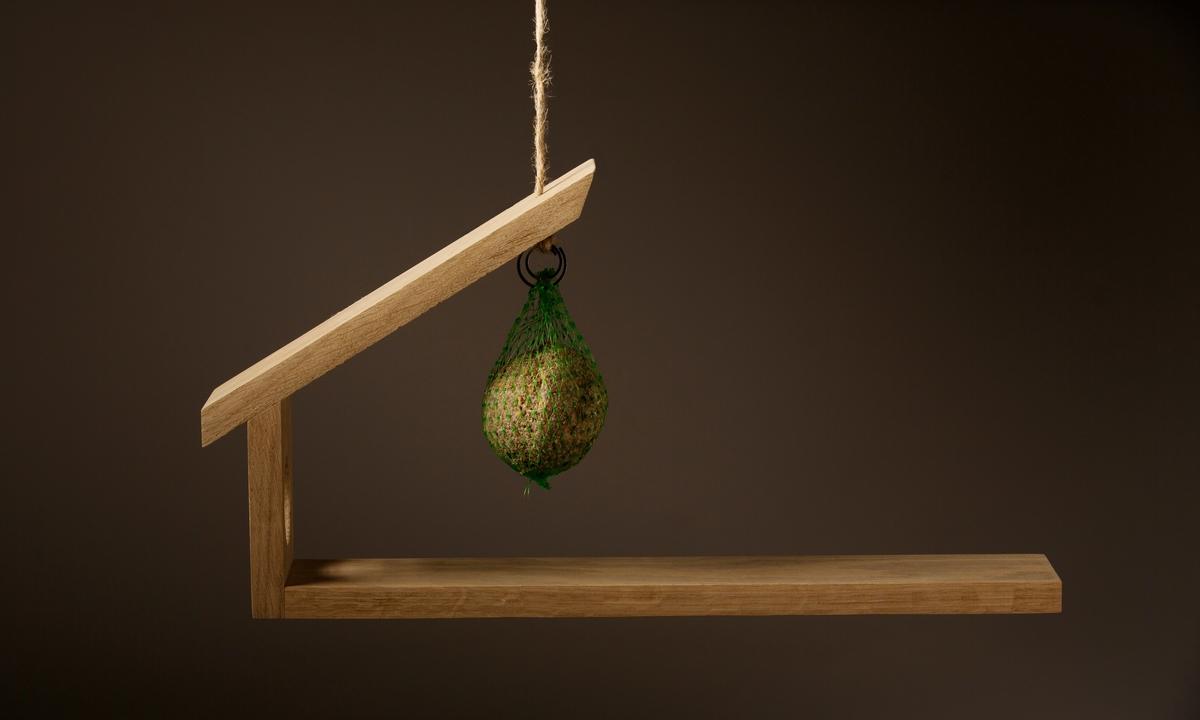 Fuglebrettet er enkelt i formen; tre smale treplanker er føyd sammen med treplugger. Den lengste utgjør bunnflaten, mens en kortere vegg står i 90 grader opp fra den ene siden av bunnen, og har et utskåret hull (dør eller vindu for småfulger). Skråstilt på den korte veggen utgjør den tredje planken et tak, som hviler over en del av bunnflaten. Konstruksjonen er ellers åpen for fugler til å sette seg på. Fra taket kan man henge en fuglematball fra en liten metallkrok, og fuglebrettet kan henges fra en hyssing som er festet i topplaten. Fuglebrettet er konstruert for å være i balanse, og tåle vekten av små fugler som setter seg på det. Dersom en større fugl derimot prøver seg, vil bunnplaten tippe slik at fuglen ikke kommer til maten.