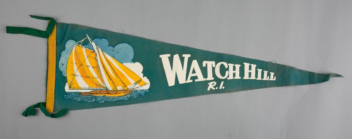 Vimpelmotiv er påtrykt bilde av seilfartøy med tekst Watch Hill, Rhode Island.