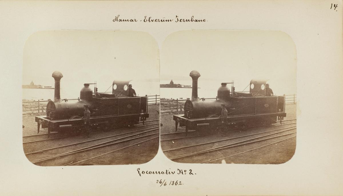 Damplokomotiv type I nr. 2 på Hamar stasjon