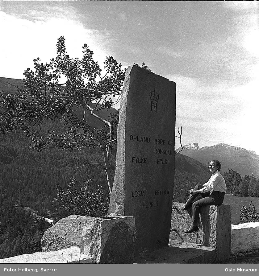 stein, fylkesgrense Oppland - Møre og Romsdal, kvinne, fjell