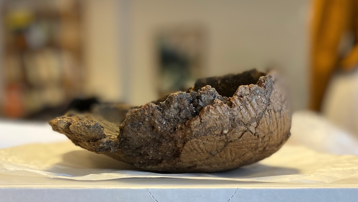 Svagt välvt keramikkärl med rund botten och något inåtböjd mynning. Till stora delar intakt men dess övre kant är delvis  skadat av odling. Då kärlet stod på ett svagt sluttande plan i gravens botten var kärlets ena sida, det som stod lägst, intakt medan den andra något uppstickande sidan, sidan var skadad. Kärlet togs upp i preparat och vid konserveringen bevarades den form det hade vid påträffandet, d v s med ena sidan något uttryckt. Inget synligt material fanns bevarat i kärlet.  Kärlet hade en heltäckande dekor uppbyggd med fält av snedställda linjer. Hela dekoren var utförd med tandstämpel med en ungefärlig grovlek av 4 tandintryck per cm. Strax under mynningen löpte en bård som bestod av fem djupare horisontella linjer med tandstämpel. Därunder fanns ett första fält med täta, snedställda tandstämpelavtryck. Från mynning till botten fanns minst 6 sådana fält där dekorens vinkelställning växlade för varje nytt fält. Dekoren omfattade hela kärlet men indelningen i fält var svår att urskilja vid själva botten. Mellan varje fält fanns en enkel, svagt intryckt horisontell tandstämpellinje. Godset var förhållandevis grovt för att vara ett stridsyxekärl. Kärlväggarna hade en tjocklek av 10 till 12 mm. Godset var kraftigt granitmagrat med en magringsmängd omkring 20-25 % och en kornstorlek av 4-6 mm. Utsidan av kärlets botten gav intryck av att vara nött men det är svårt att veta om det beror på användning eller bevarandeförhållanden. Om man inplacerar kärlet i Malmers indelning av keramik från stridsyxekulturen ligger det närmast grupperna J och K (Malmer 1975, s 19). Dessa hör till den sena gruppen av stridsyxekeramiken vid slutet av mellanneolitikum (ibid, s 32).
