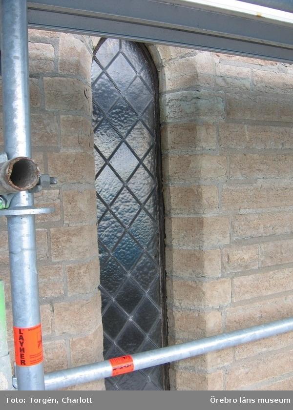 Renoveringsarbeten av tornfasader på Olaus Petri kyrka (Olaus Petri församling).Fönster i nedre delen av östra tornet.Dnr: 2008.230.065