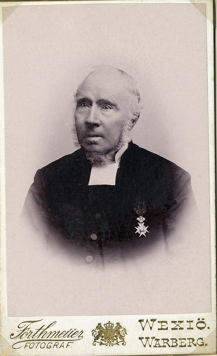 Foto av en äldre man med polisonger, klädd i prästrock och prästkrage. På bröstet syns en orden. Bröstbild, halvprofil. Ateljéfoto.