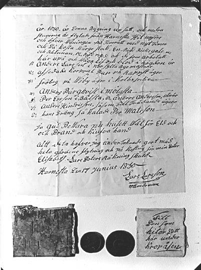 Kroppåsbrev daterat 1830. Bålsta Munktorp sn.