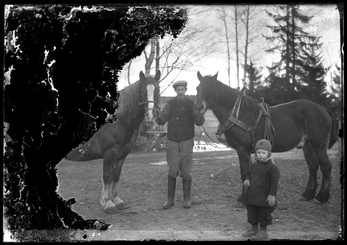 Man med hästar
