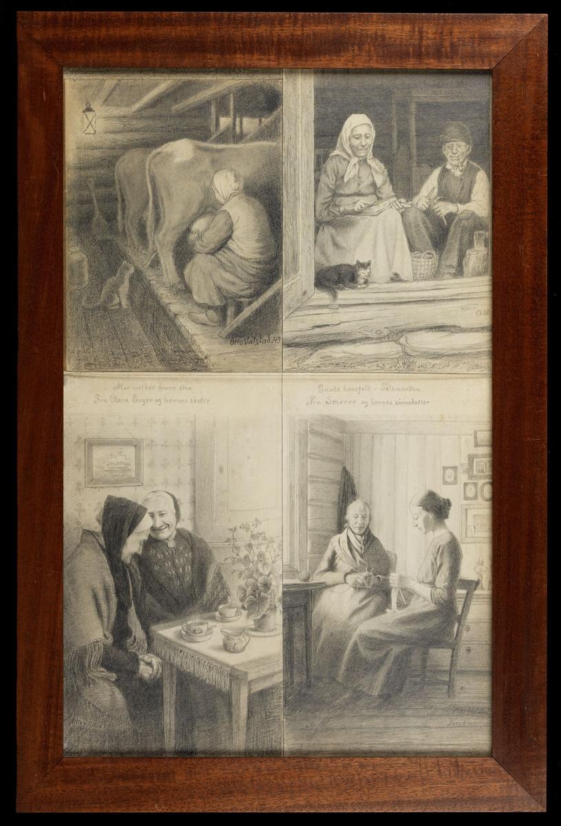 """Ned.f.v. 2 gamle kvinner, sittende, halvfigur, interiør, skr.""""Fru Olava Enger og hennes søster, Otto Valstad""""; tilh. interiør m. gammmel og ung kvinne, begge strikker, skr.""""Fru Scherer og hennes sønnedatter, Otto Valstad, Kvikne"""";  øv. tilv. 2 kuer, kvinne melker, katt, skr.""""Mor melker kuene sine, Otto Valstad 43;  tilh. kvinne, mann, katt i døråpning t. tømmerstue, skr.""""Gamle kaarsfolk i Telemarken, O.V."""""""