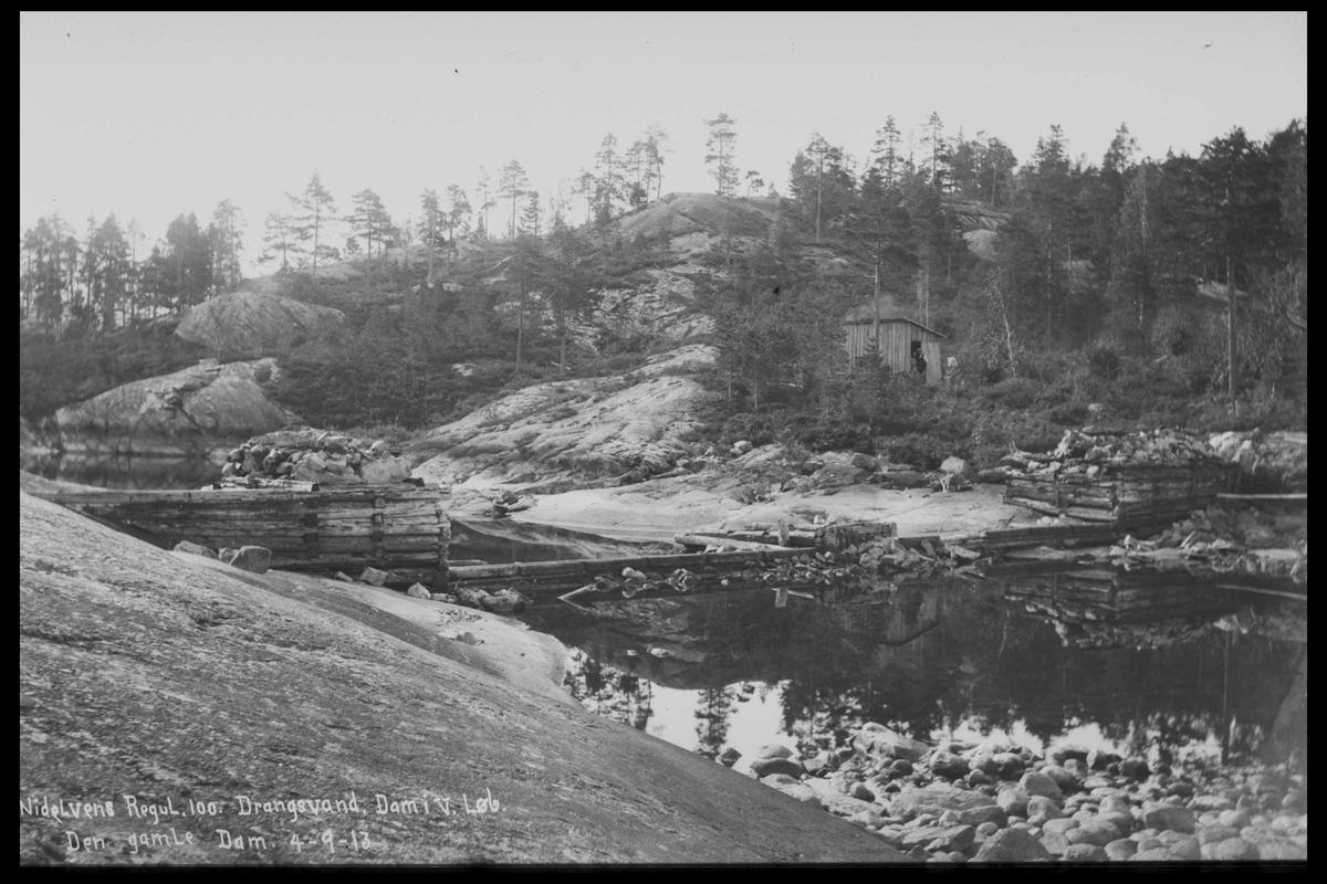 Arendal Fossekompani i begynnelsen av 1900-tallet CD merket 0446, Bilde: 23 Sted: Drangsvann dam Beskrivelse: Regulering