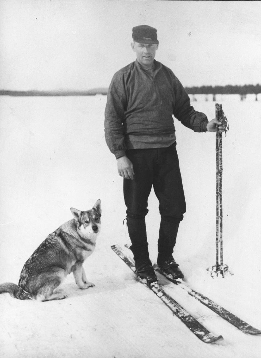 Bøhn, Kr. på ski. Hunden Janna.  To gode venner.