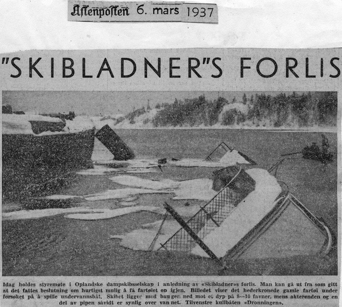 Skibladners forlis. Avisoppslag fra 6. mars 1937.