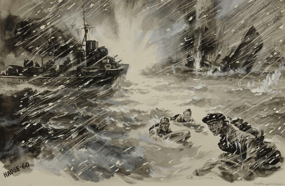 Engelske jagere trenger inn på Narvik havn 10. april 1940. Kampene i Norge 1940, bind 2, side 192.