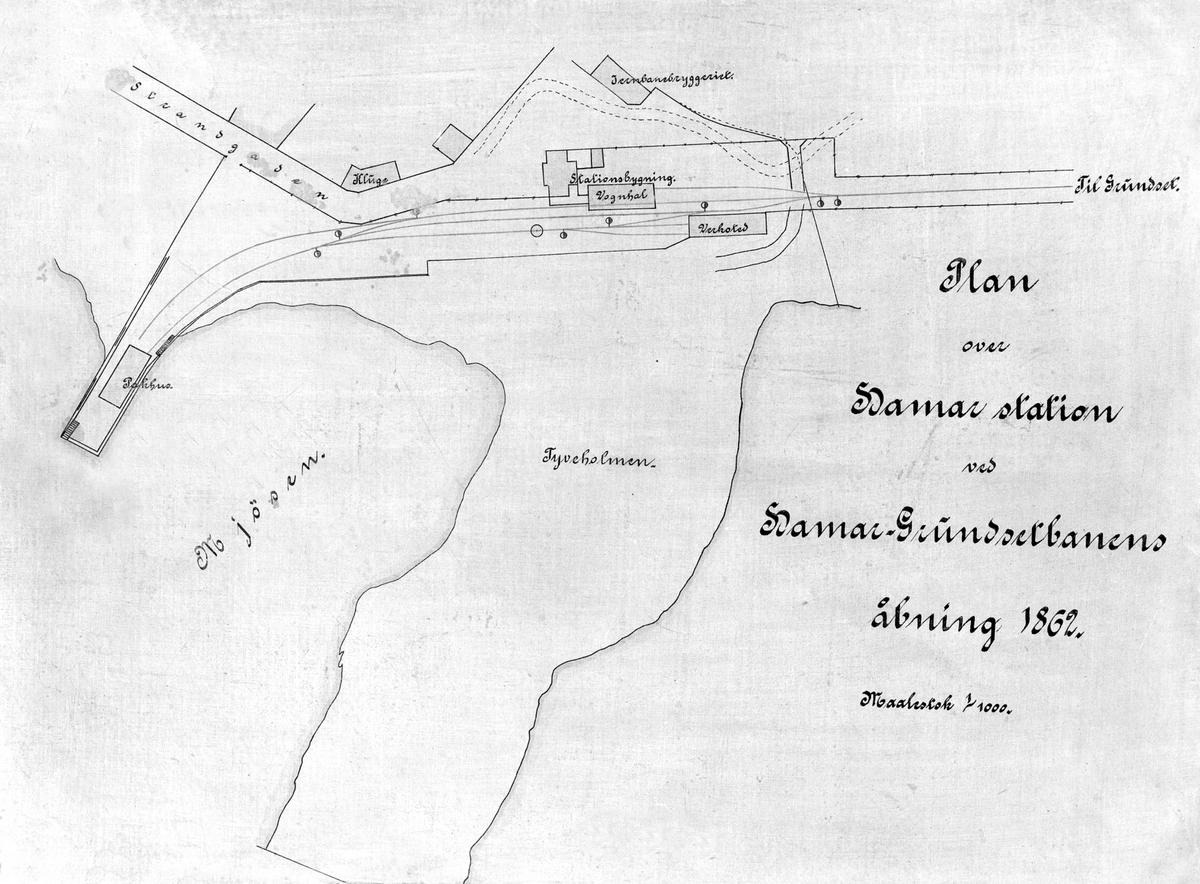 KART FRA 1862, HAMAR STASJONSOMRÅDE, JERNBANEBRYGGA, 1862.