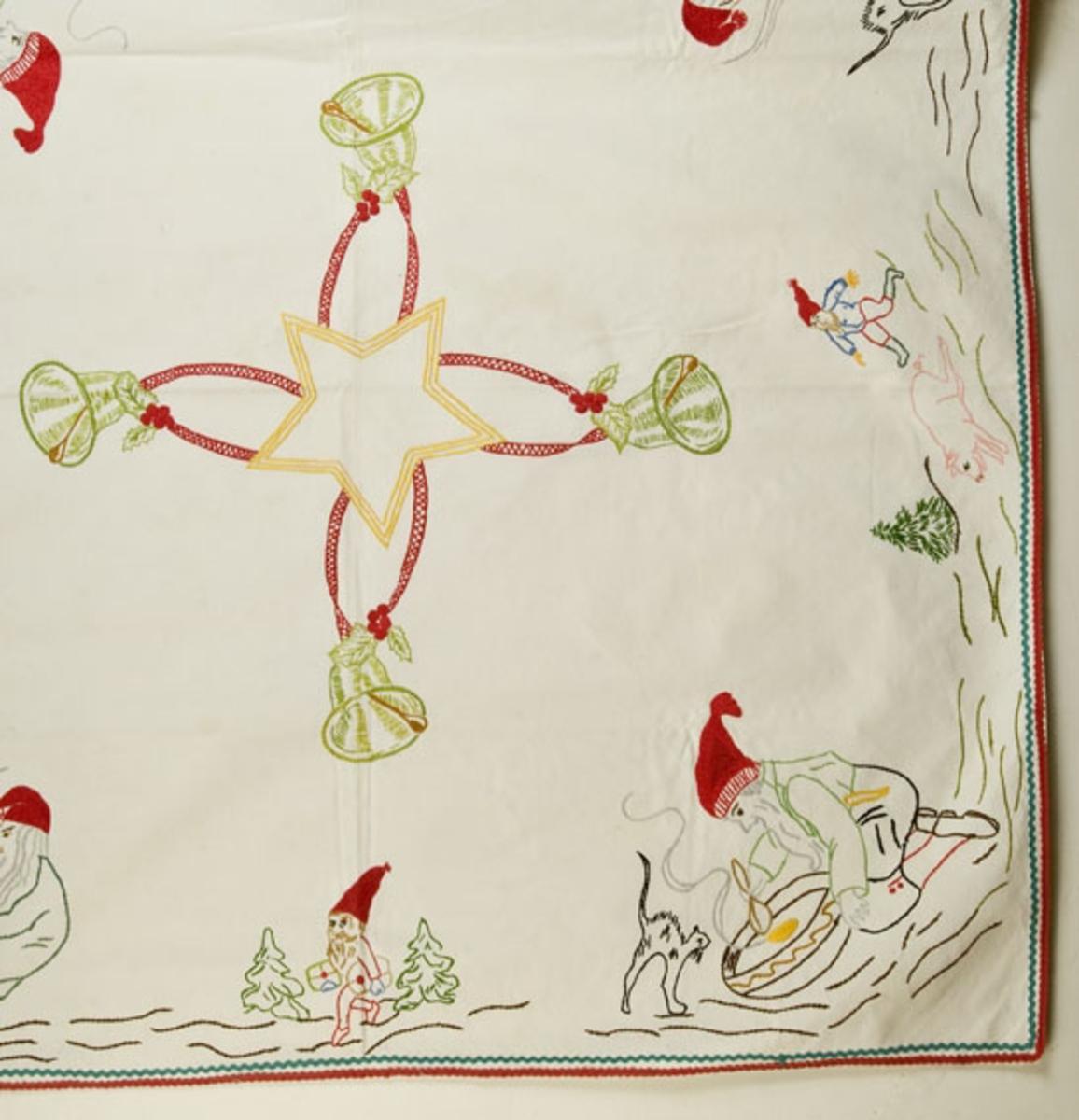 Svakt rektangulær. Brodert diverse julemotiver. Påsydd bånd rundt kantene