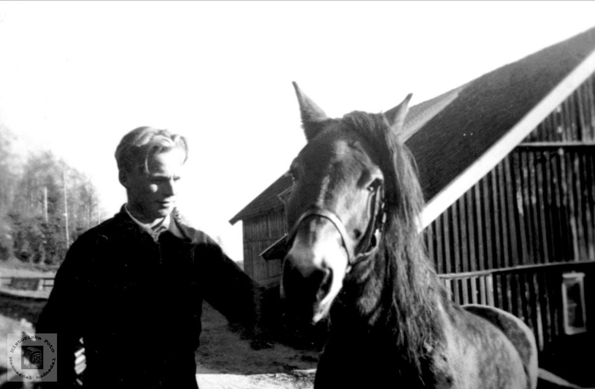 Portrett av Gerald Fidje med hesten.