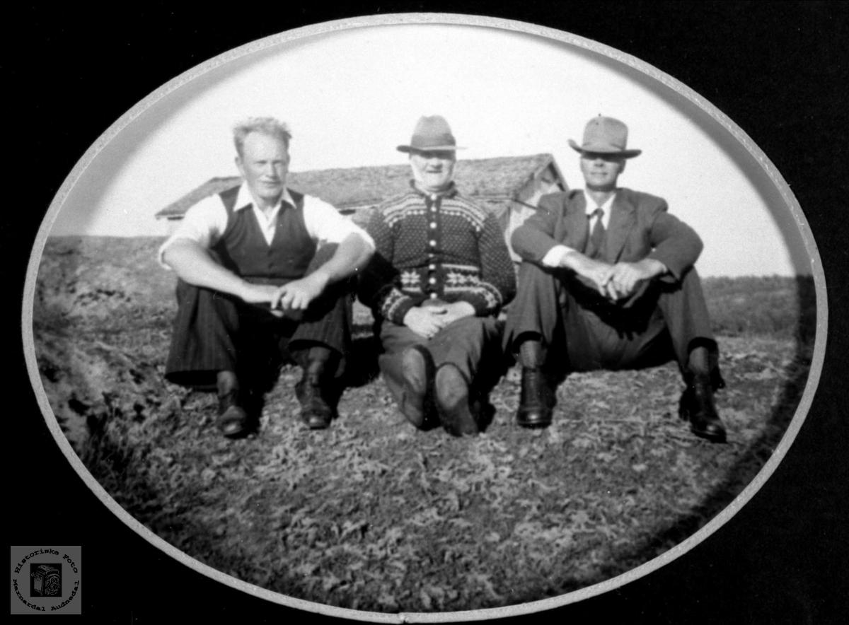Portrett av tre karer. Vollen, Tisland, Laudal.