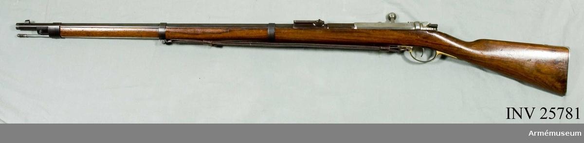 Grupp E II f. Bakladdningsgevär m/1871 för infanteri, Tyskland. Samhörande nr är: 25781-6, gevär, sabelbajonett, balja, gevärsrem, mynningshylsa, siktfodral.