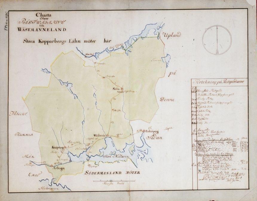 Postkarta över postvägarna i Västmanland under 1700-talets mitt. Kartan visar endast Västmanland, de angränsande länen namnges endast vid sidan om. En förteckning över postgårdar med diverse andra postala anteckningar finns på kartan. Dessa har senare undertecknats av postinspektören i Västerås Nils Godt 1753-10-20. Kartan är ritad och kolorerad för hand.