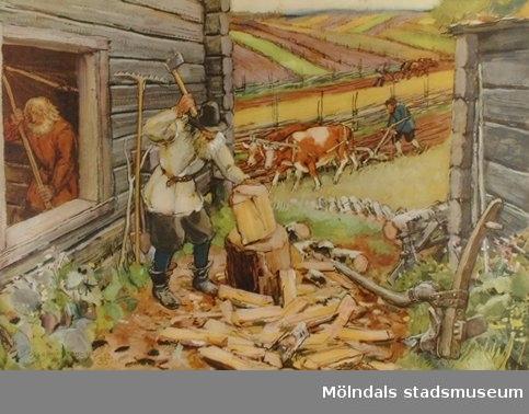 :1: Arbetet på en bondgård under Vasatiden.:2: Medeltida gudstjänst.