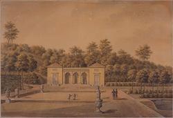 Motiv akvarellmålning Gunnebo ca:1790-1827. av J.F. Weinberg