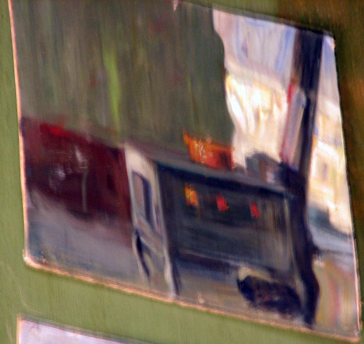 Rektangulær. Skisse; interiør, komfyr, rødbrun og grønn vegg, åpn. tilh.