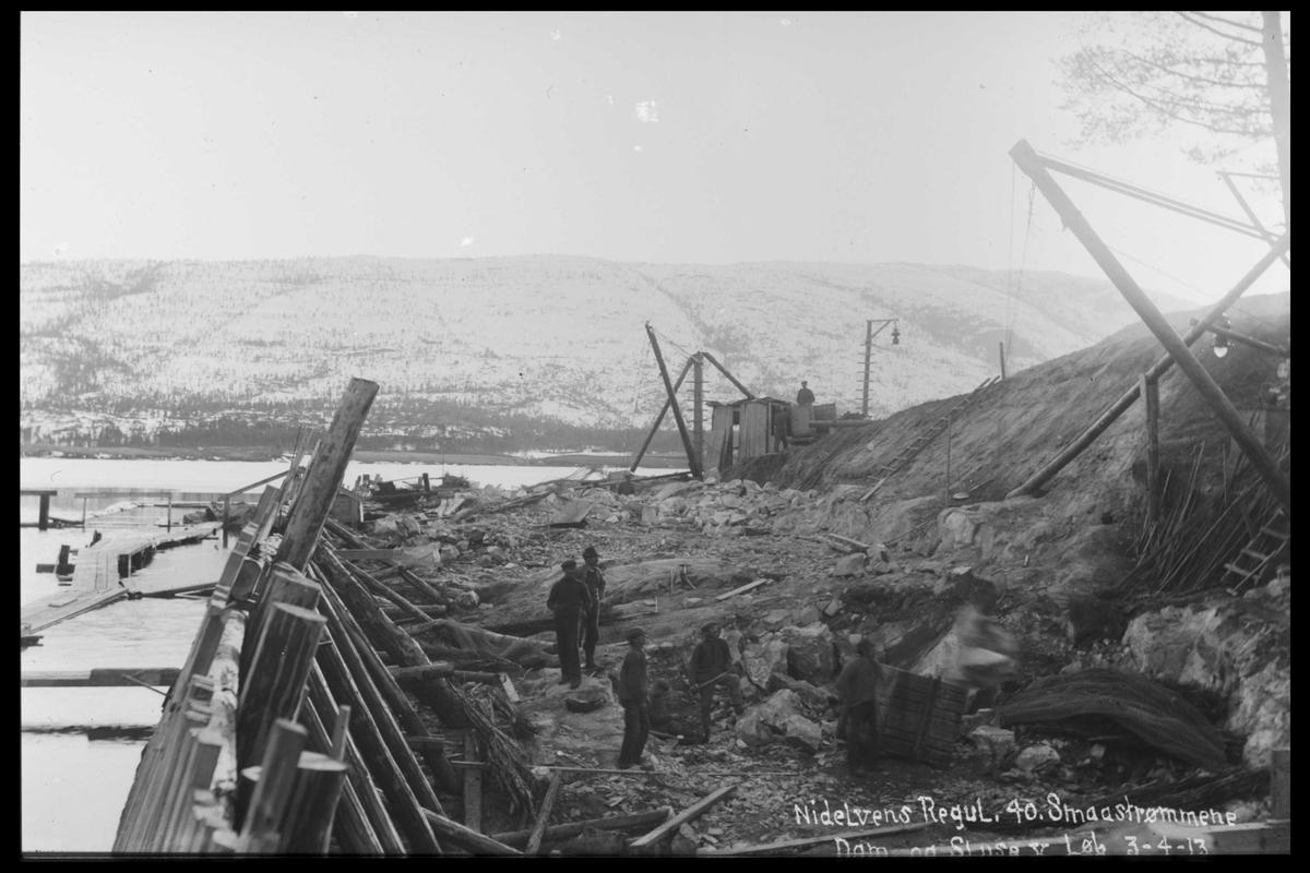 Arendal Fossekompani i begynnelsen av 1900-tallet CD merket 0446, Bilde: 62 Sted: Nisserdammen. Beskrivelse: Muring