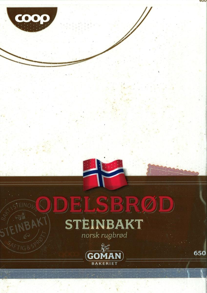 Motiv på posen er et norsk flagg. Den er plassert øvert på et brunt belte, som går tvers over posen