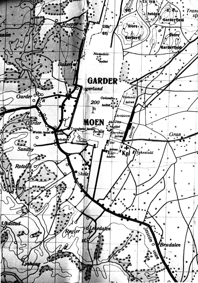 Gamelt kart over Gardermoen