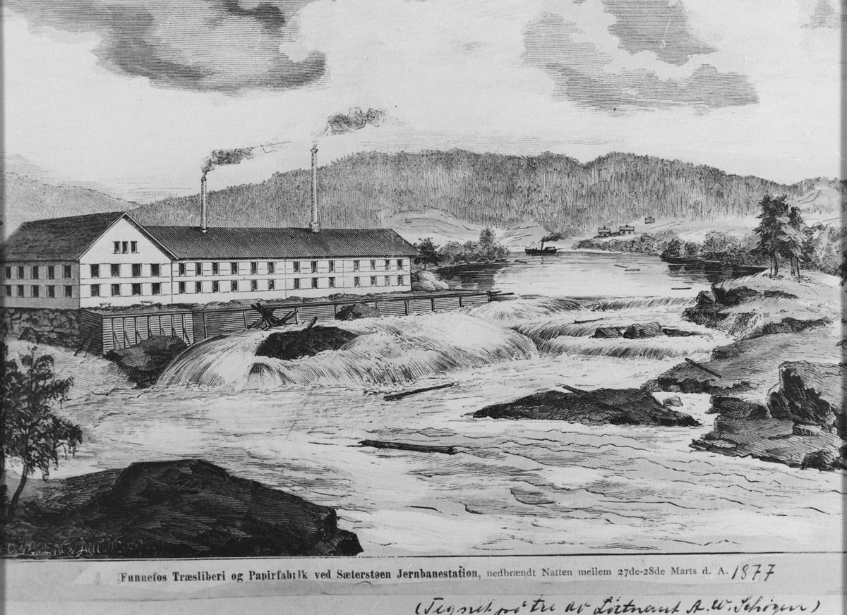 Tegning av Funnefoss tresliperi og papirfabrikk