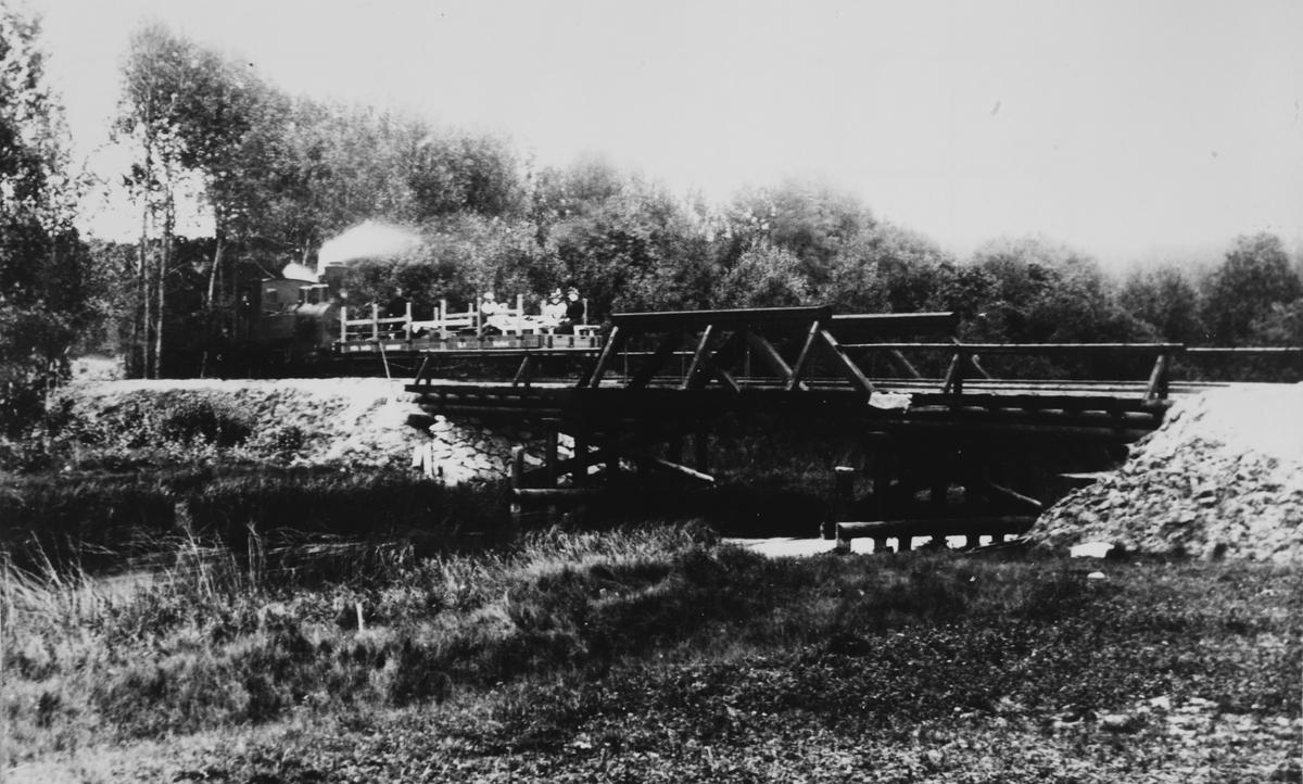 Inspeksjonstog på vei inn på Eidsverkets sidespor på Bjørkelangen sommeren 1896. En av Eidsverkets privatvogner er påmontert karmer og benker for passasjertransport.