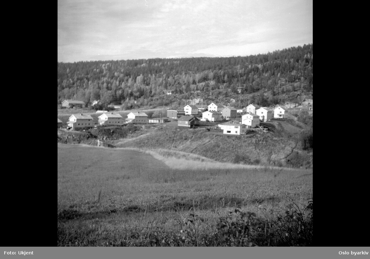 Boligområde, grøntarealer. 2-etasjes trehus (svenskehus?) i Bånkallstubben.