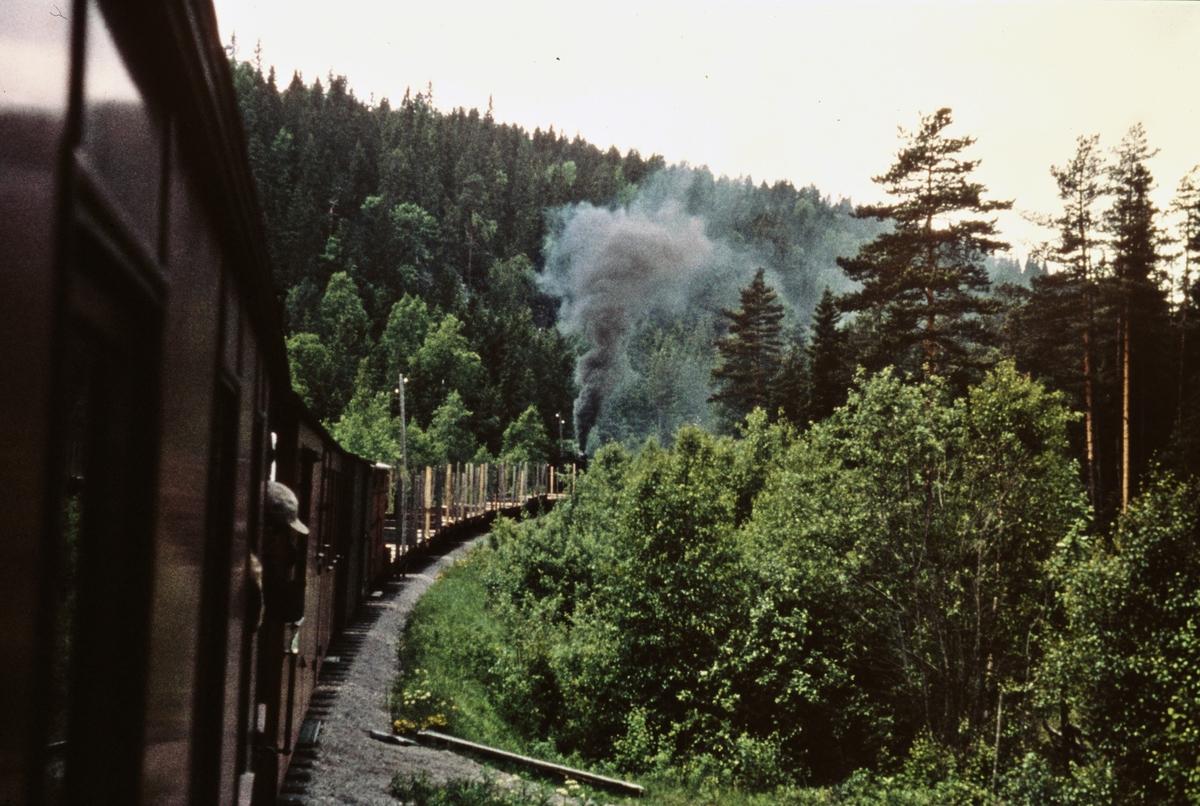 Utsikt fra kupevinduet på tog 2058 til Sørumsand